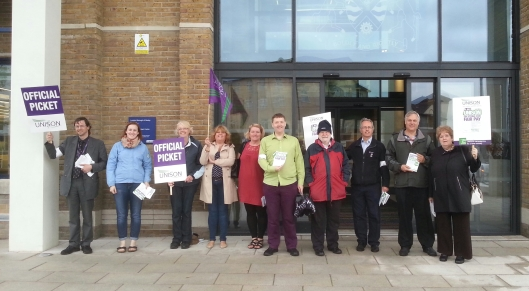 Some of the UNISON members striking for fair pay outside the Civic Offices