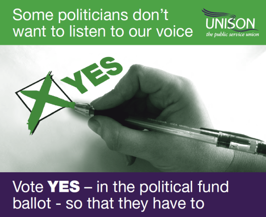 Some politications don't want to listen to our voice; vote YES in the political fund ballot so that they have to