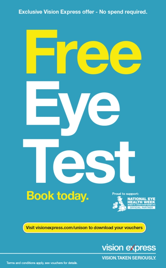 Register for a free eye test voucher at www.visionexpress.com/unison